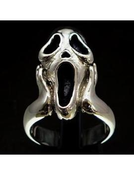 Artwork Sterling Silver Mens Ring The Scream Inspired By Munch Any Size by Backmetal Rings And More