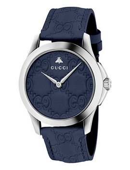 Unisex Swiss G Timeless Dark Blue Leather Strap Watch 38mm by Gucci
