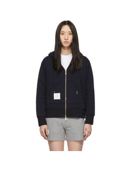 Navy Classic Loopback Zip Up Hoodie by Thom Browne
