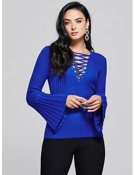 Stephanie Lace Up Sweater by Guess