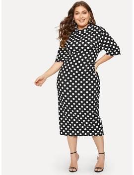 Plus Mock Neck Polka Dot Print Pencil Dress by Shein