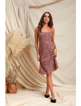 Wild Child Blush Pink Leopard Print Midi Dress by Lulus