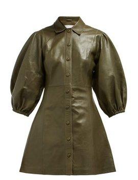 Mernati Puffed Sleeve Leather Dress by Ganni