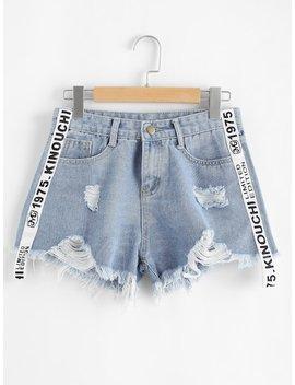 Plus Letter Ribbon Raw Hem Ripped Denim Shorts by Sheinside