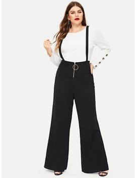 Plus Solid Zip Front Pinafore Pants by Sheinside
