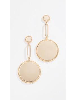 Double Medallion Drop Earrings by Rebecca Minkoff