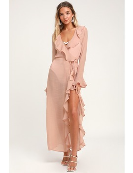 Sun Kissed Sweets Blush Ruffled Swim Cover Up by Lulus