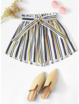 Plus Knot Detail Frill Trim Striped Shorts by Sheinside