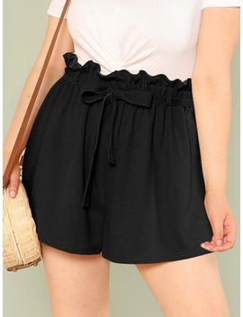 Plus Solid Paperbag Waist Shorts by Shein