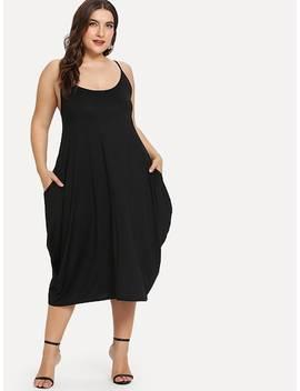 Plus Hidden Pocket Solid Cami Dress by Sheinside