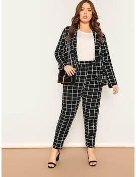 Plus Shawl Collar Grid Blazer & Pants Set by Shein