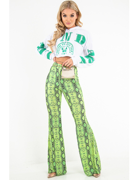 Neon Green Snake Print Flared Trousers   Mianna by Rebellious Fashion