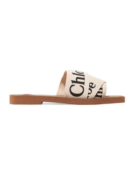 Woody Logo Print Canvas Slides by Chloé