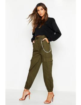 Chain Trim Pocket Cargo Trousers by Boohoo