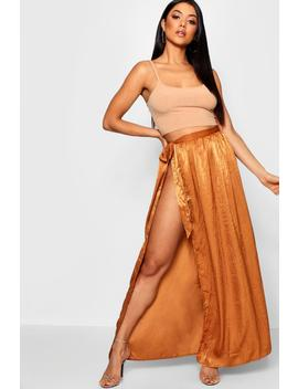 Woven Hammered Satin Tie Maxi Skirt by Boohoo