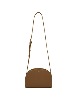 Brown Saffiano Half Moon Bag by A.P.C.