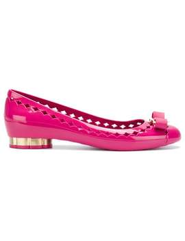 Cut Out Bow Front Ballerina Shoes by Salvatore Ferragamo