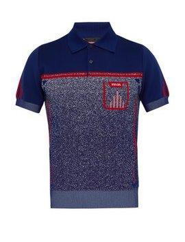 Gradient Intarsia Stretch Knit Polo Shirt by Prada