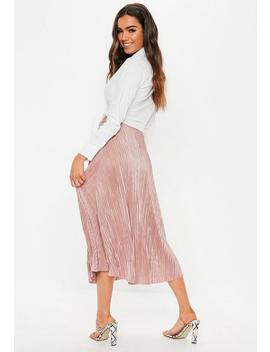 Rose Plisse A Line Midi Skirt by Missguided