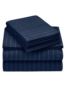 Pinzon 160 Gram Pinstripe Flannel Sheet Set   King, Navy Pinstripe   Pz Plflan Np Kg by Pinzon By Amazon