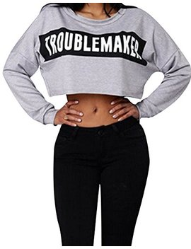 Faithtur Women Basic Short Blouse Long Sleeve Tee Troublemaker Print Crop Top T Shirt by Faithtur