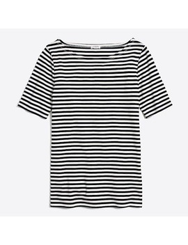 Striped Perfect Fit Open Neck T Shirt by J.Crew