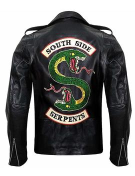 Men's Black South Classic Side Snake Design Hi Quality Men Genuine & Synthetic Leather Jacket by Nm Fashions