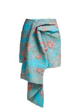 Draped Metallic Cloqué Mini Skirt by Halpern