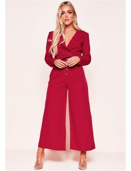 Meri Red Button Wide Leg Culottes by Missy Empire