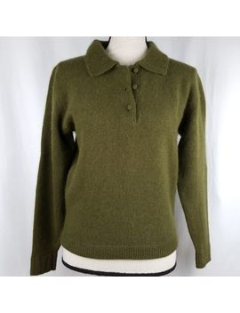 Lord & Taylor Small Sweater Women's Green Henley L/S Lambswool Angora Pullover by Lord & Taylor