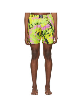 Green Tie Dye Swim Shorts by Sss World Corp