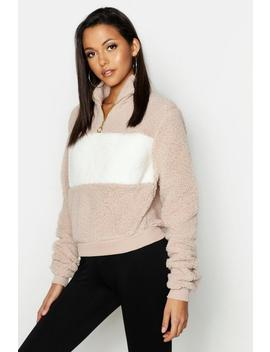 Tall Teddy Faux Fur Colour Block Sweat by Boohoo