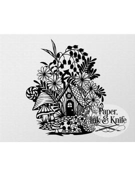Papercut Template, Fairy Cottage, Fantasy Flowers And House, Instant Digital Download,Machine Or Hand Cut Svg, Dxf, Pdf Commercial Use by Etsy