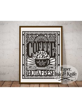 Coffee Poster Papercut Template, But First Coffee, Coffee Lover Kitchen Decor, Art Deco Style Wall Decor, Svg, Dxf, Pdf Commercial Use by Etsy