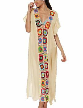 Bsubseach Women Bathing Suits Cover Up Ethnic Print Kaftan Beach Maxi Dress by Bsubseach