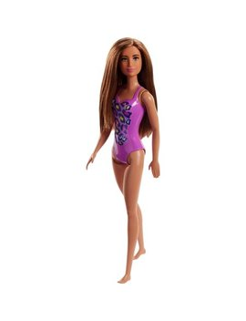 Barbie Beach Doll With Brunette Hair And Purple Swimsuit by Barbie