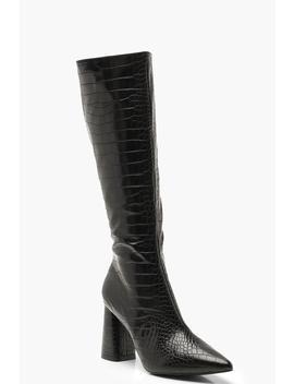Croc Knee High Block Heel Boots by Boohoo