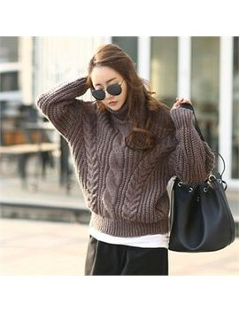 Nak21   Turtle Neck Cable Knit Sweater by Nak21