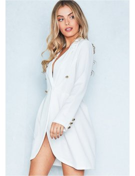 Maria White Tuxedo Wrap Mini Dress by Missy Empire