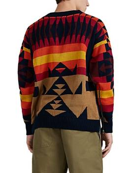 Zip Side Geometric Jacquard Cotton Sweater by Sacai
