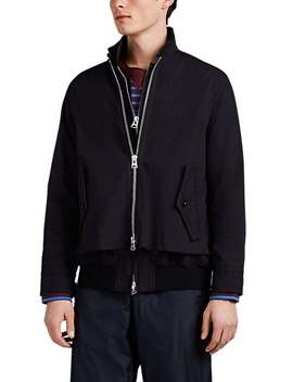 Harrington Spider Embroidered Layered Cotton Twill Jacket by Sacai