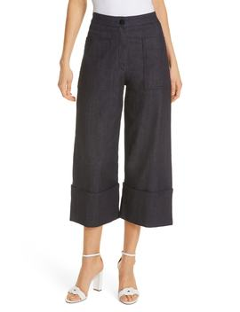 Cuffed Wide Leg Crop Denim Pants by Kate Spade New York
