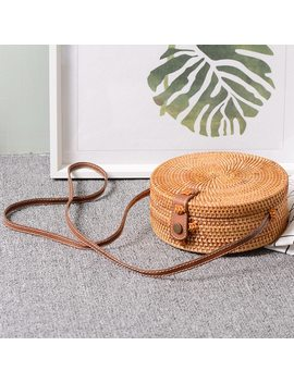 Bali Vintage Handmade Crossbody Leather Bag Round Beach Bag Girls Circle Rattan Bag Small Bohemian Shoulder Bag by Wovelot