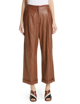 Nappa Leather Wide Leg Crop Pants by Brunello Cucinelli
