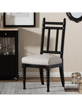 Black And Beige Jenny Lind Style Vintage Dining Chair by Baxton Studio