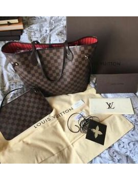 Louis Vuitton Neverfull Mm Damier Ebene Tote Handbag & Clutch Pochette Dust Bag by Louis Vuitton