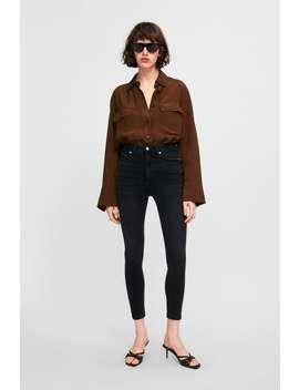 Traperice Visokog Struka Zw Premium '80 S Crne Boje  Visoki Struk Jeans Žene by Zara