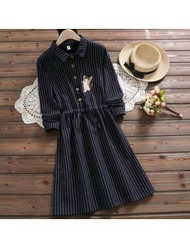 Aigan   Cat Embroidered Pinstriped Shirtdress by Aigan