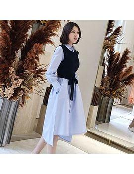 Apotheosis   Set: Long Sleeve A Line Shirtdress + Tie Waist Knit Vest by Apotheosis