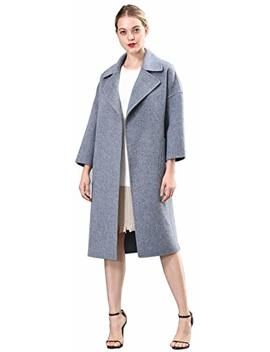 Spring Air Womens Long Double Faced 100 Percents Wool Coat, Loose Tartan&Solid Parka Outwear by Spring Air